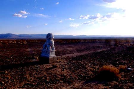 Route 66, statue of a deity in the desert Archivio Fotografico