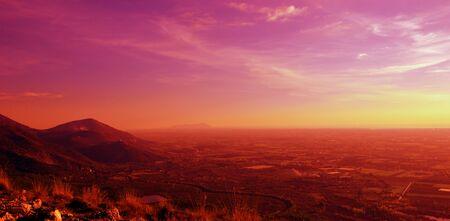 lazio: Sunset on the coast of Lazio, Mediterranean, Italy Stock Photo