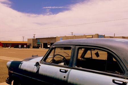 abandoned car: Route 66, abandoned car Stock Photo
