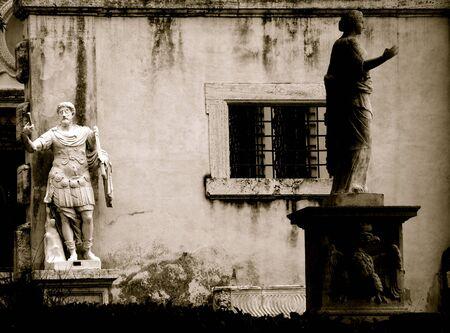 villa borghese: Villa Borghese, statues, Rome