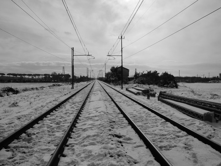 climatic: Rails of a train in the snow
