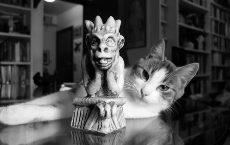 gargouille: Cat et la statue d'une gargouille Banque d'images