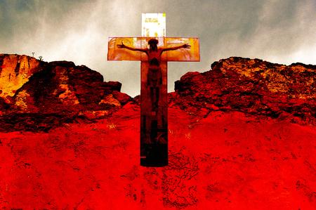 metaphysics: Crucifix in an apocalyptic sky Stock Photo