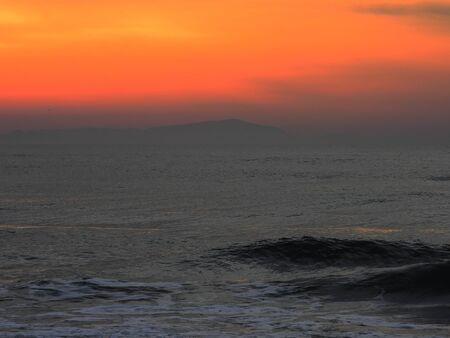 lazio: Sunrise, sea, beach Circeo, Lazio Stock Photo