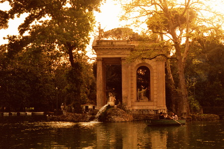 Diana temple and bourgeois villa pond in Rome
