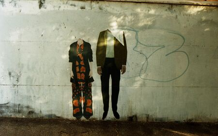 man and woman drawn on a wall