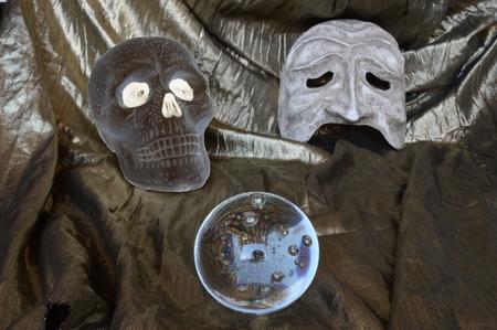 Skull, Crystal Mask and Ball Stock Photo