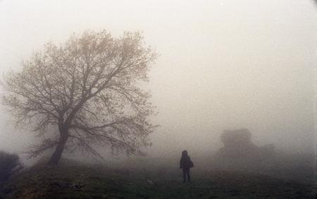 Figure in the fog Archivio Fotografico - 100946072