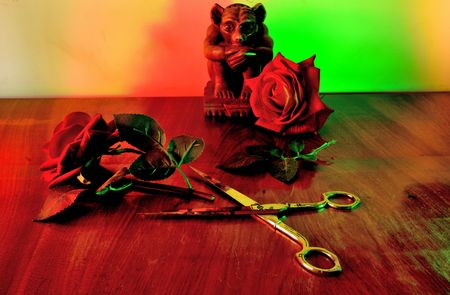 Cut flower on the table. Archivio Fotografico - 100300480