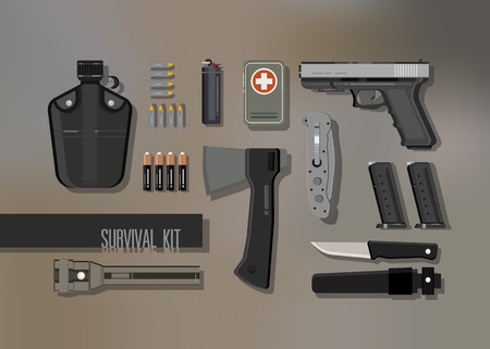 disaster preparedness: Survival emergency kit , vector objects set on dark background
