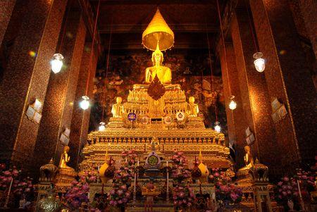 glistening: Golden Glistening Buddha at Wat Pho Stock Photo