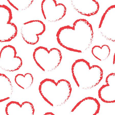 Hand drawn ink hearts seamless pattern , sketchy artsy, calligraphy nib drawing