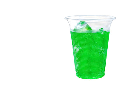 Iced green cola soft drink with ice in take away cup isolated on white background. Stok Fotoğraf