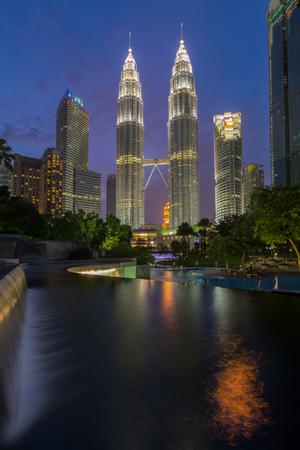 Petronas Twin Towers in evening, Malaysia