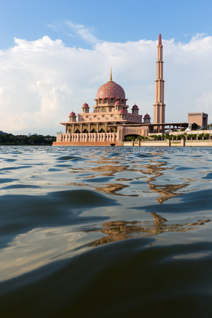 Putra Mosque at noon the famous mosque of Putrajaya, Malaysia Editorial