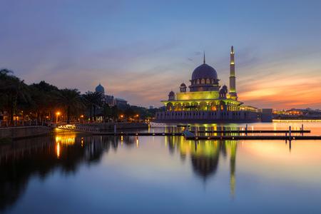 Putra Mosque at morning the famous mosque of Putrajaya, Malaysia