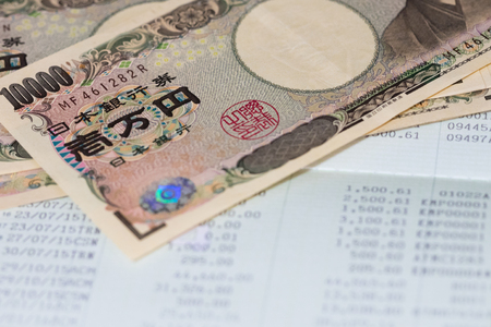Saving Account Book, Statement and japanese yen bannknote from Bank for Business Finance Loan Stok Fotoğraf
