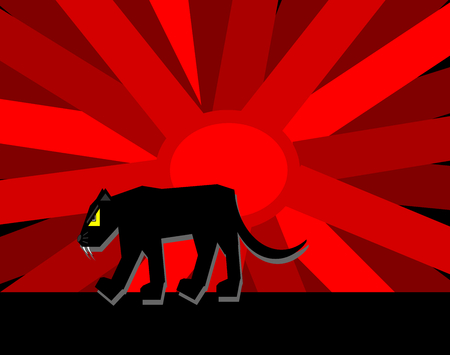 A silhouette black panther with the big sun background.