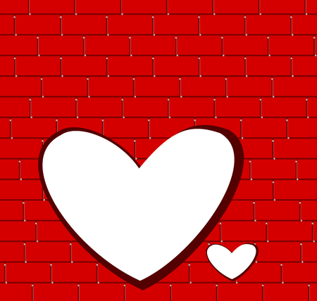White heart and red brick wall background Illustration