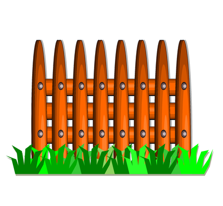 Wooden fence and green grass on white background,vector