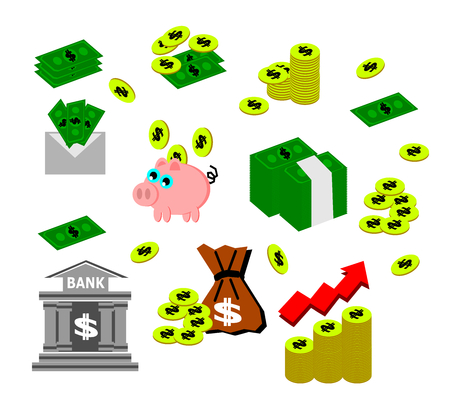 Money, coin and bank cash business vector