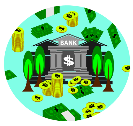 Bank, money and cash, business vector illustration.