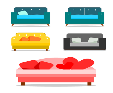 Set of sofas and pillows isolated on white background, sofa vector.