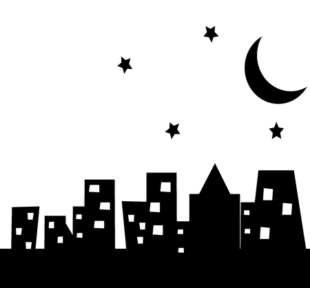 building in the city town at night with white background. City Vector illustration.