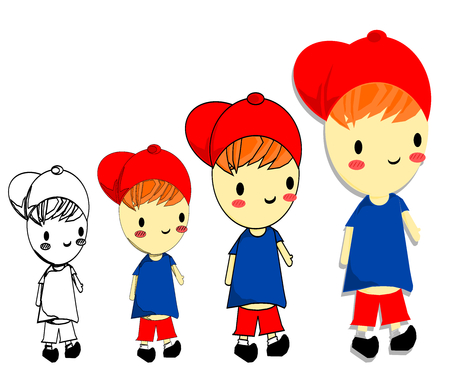 Isolated happy boy, cartoon style. Steps to draw a child, kid vector illustration/ Vectores