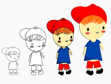 Isolated happy boy cartoon style vector illustration