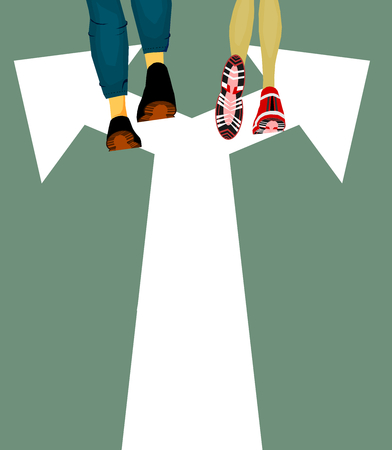Choice Choosing concept, man going to left and woman going to right,crossroad,Vector Stock Vector - 96709757