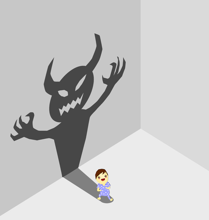 kid with devil shadow, Parenting concept,