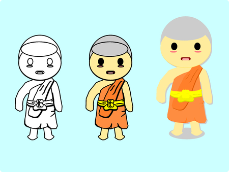 Isolated monk,cartoon style,Steps to draw a monk,vector.