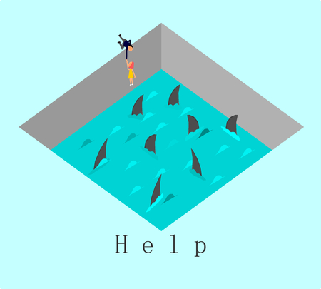 Help concept,Vector,Businessman tries to pull a woman out of a water and shark,vector. Illustration