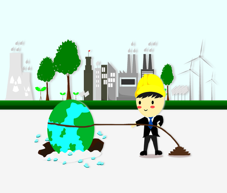environmental engineer tries to pull the earth out of hole, Ecology concept,save world,Cartoon style, World environment and sustainable development,Vector illustration.