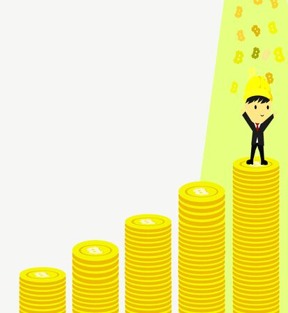 Side view of a businessman climbing stacks of bitcoins