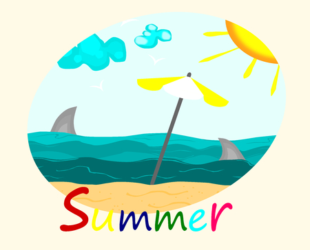Beautiful beach and sea, summer concept vector