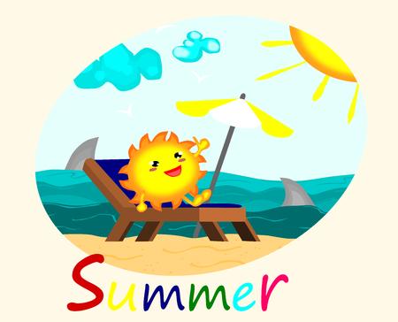 Cute sun sunbathing at Beautiful beach, summer concept vector