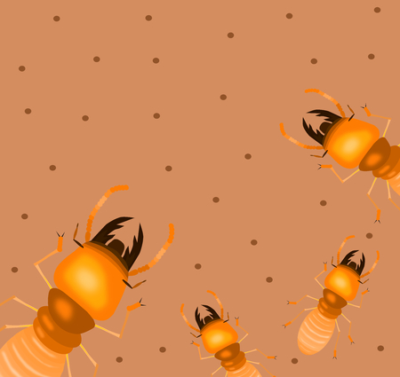Set of termites on a brown background