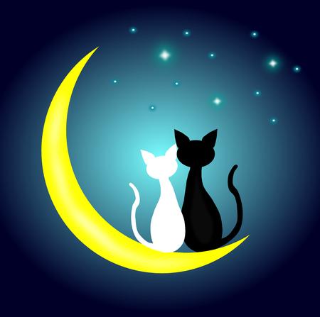 Twee katten in liefdezitting op de toenemende maan bij nacht, minnaarpaar, vector. Stockfoto - 97982401