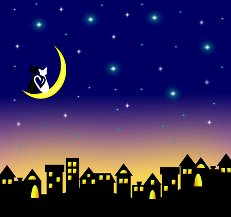 Two cats in love sitting on the crescent moon above the city at night,lover couple,vector. Stock Illustratie