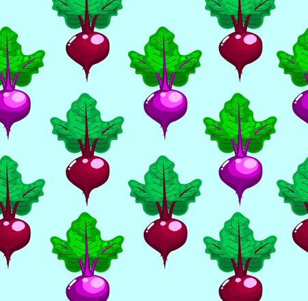 Beetroot pattern in cartoon style vegetables vector.