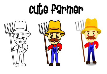 How to drawing the cute farmer, isolated man with soft blue background. Cartoon style, job vector. painting for kid.