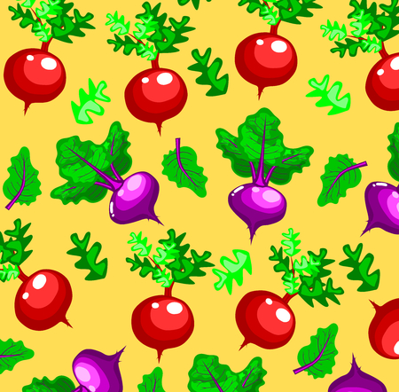 seamless pattern with cute radish and beetroot with orange background,cartoon style,Vegetable vector. Stock Illustratie