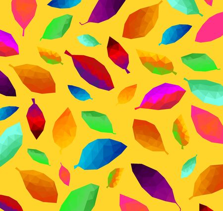 Pattern of colorful triangular leaf abstract background texture, crumpled paper, geometric style, low poly concept.