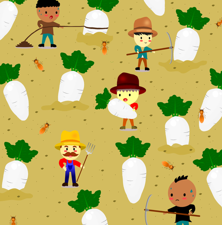 Pattern with cute white radish on field and farmer,vegetables and worker cartoon style,vector.
