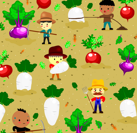 pattern with cute radish on field and farmer,vegetables and worker cartoon style,vector.