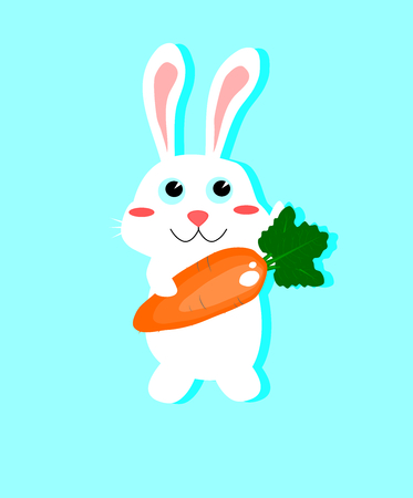 isolated white rabbit holding the big carrot,animal vector.