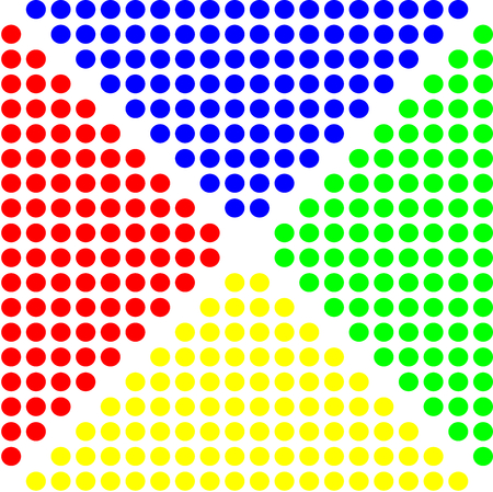 A pattern with Colorful dots on background,wrong sign with point connecting network.