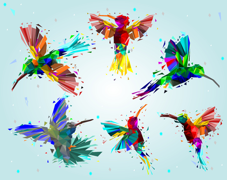 Pattern with low poly colorful hummingbird design illustration.
